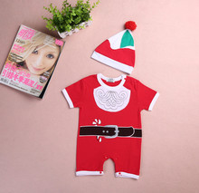 Christmas Kids Clothing Toddder Baby Boys Girls Cloths Set 2Pcs Christmas Santa Claus/Snowman Romper+Cute Hat Outfits(China)