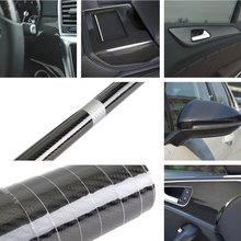 High Gloss PVC 5D Carbon Fiber Vinyl Foil Film Car Wrap Roll Sticker Decal Black 35*150cm Interior Accessories Car Styling