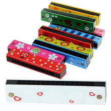 Baby Wood Plastic Harmonica Fun Double Row 16 Holes Harmonica Toy Musical Early Educational Toy Random Color (China)