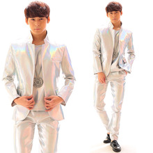 Fashion Men's Silver Laser Leather Suits Costume Male Outerwear Clothing Leather Pants Set Motorcycle Punk Suit Performance Wear(China)