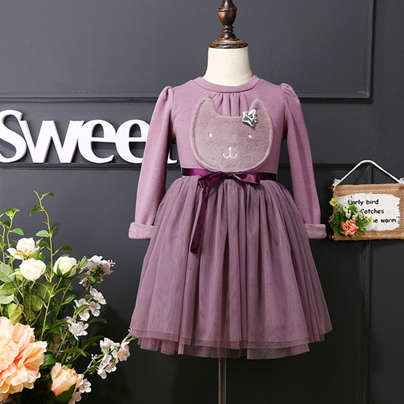 Girls dress with Korean winter cashmere thickened female baby princess dress Tutu dress<br>
