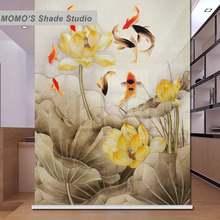 MOMO Blackout Lotus Fish Window Curtains Roller Shades Blinds Thermal Insulated Fabric Custom Size, Alice 441-445