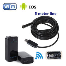 6LED 5M Endoscope Waterproof Inspection HD Camera Micro USB+WIFI BOX For IOS And Android Free shipping