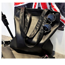 Fashionable casual black shoulder bags big cowhide pure black women's bag Synthetic leather handbag vy