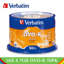 Verbatim DVD Drives 16X 4.7GB DVD-R Blank CD Disks Bluray Recordable Media Compact Write Once Data Storage Empty DVD Discs Lotes(China)