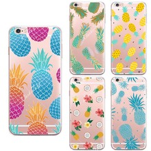 Capa Fruit Pineapple Case Cover For iphone SE 5 5S 6 6S Plus Transparent Silicone Cell Phone Cases