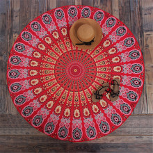 Round Hippie Mandala Peacock Flower Indian Tapestry Wall Hanging Bohemian Beach Towel Polyester Thin Blanket Yoga Shawl Mat 150x(China)