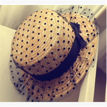 2017 Hot Lady Boater sun caps Ribbon Round Flat Top Straw Fedora Panama Hat summer hats for women fascinate mesh straw hat