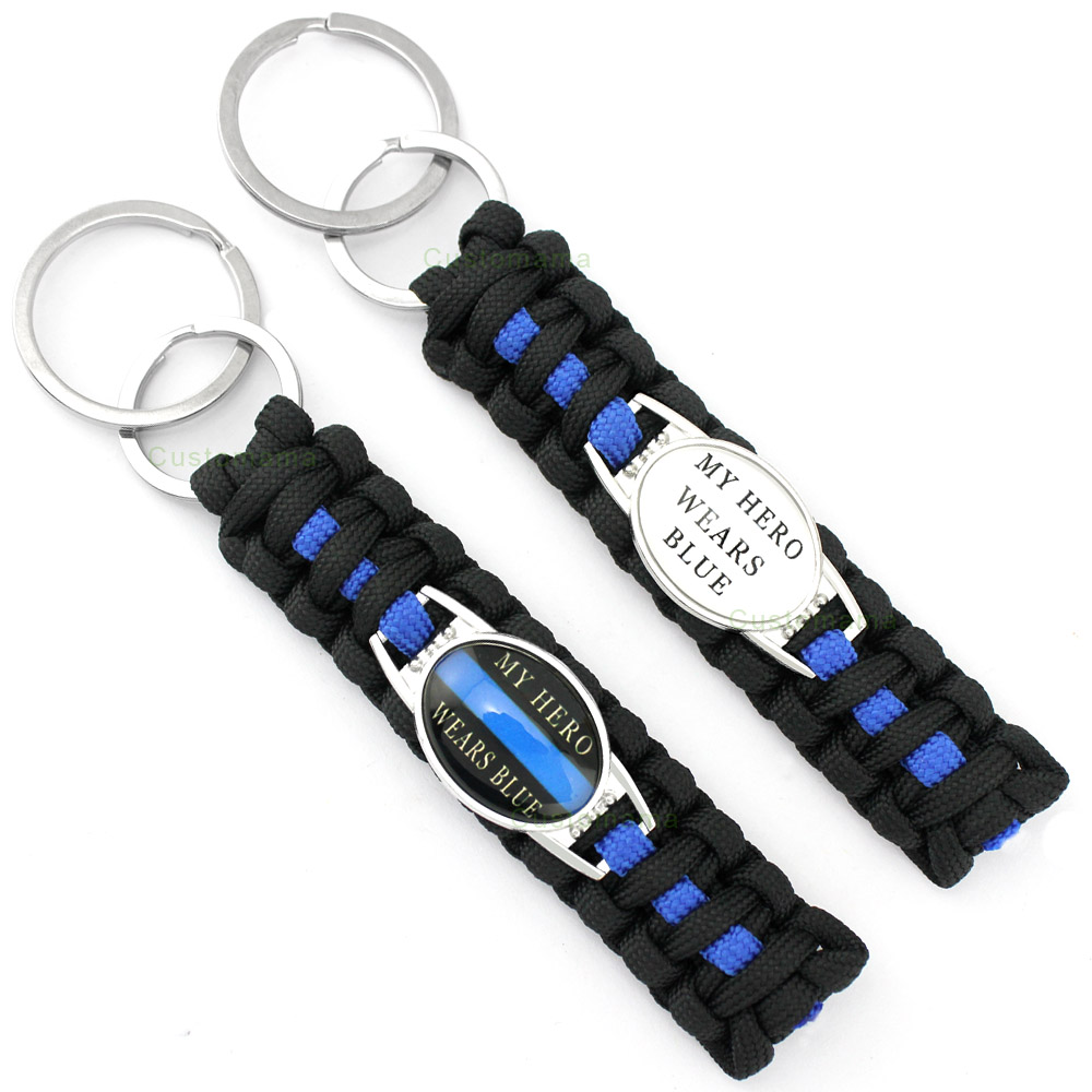 Policeman Deputy Police Daughter Son Dad Mom Sister Wife Aunt Grandma Husband Survival Paracord Key Rings Keychains Key Chains 31