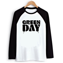 Rock Music Band Green Day Ink Print Black White Raglan Long Sleeve Men T-shirt Swag Clothes Street Tee 2016 Autumn Tshirt
