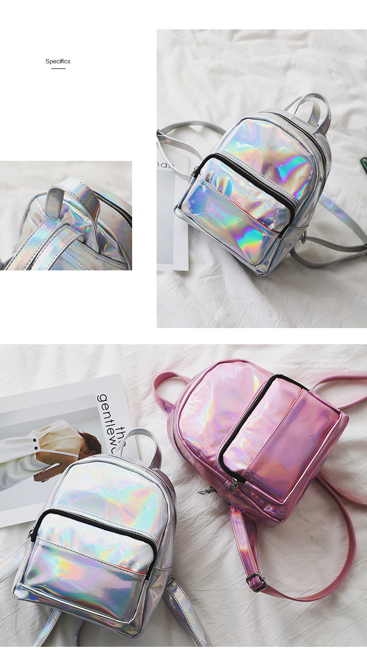 d47dec72936 DIOMO Mini Backpack Women Holographic Bag Hologram Female Cute Small  Backpack for Girls. Size  20(W) 23(H) 9(D) CM. Weight  0.4KG