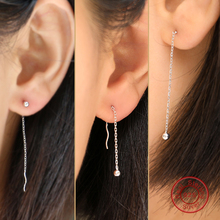 Round Ball Real Pure Genuine 925 Sterling Silver Long Dangle Tassel Earrings Luxury Silver Jewelry Fashion Thread