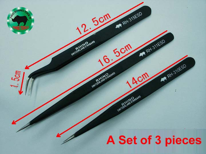 A Set 3 pcs Japanese RHINO Brand RH Serial ESD Tweezers Anti-static High-precision Super Hard For Repairing Watch or Mobile<br><br>Aliexpress