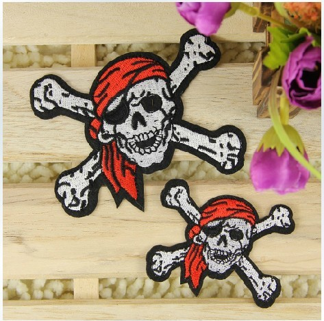 5 pcs/set Kerchief SKULL Embroidered Iron-On Patches For Jacket Back Vest Motorcycle Club Garment Applique DIY Accessory(China (Mainland))