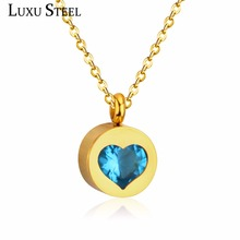 LUXUSTEEL Exquisite Jewelry White/Red/Blue/Black/Pink Heart Crystal Round Pendants Necklaces For Women Choker Necklaces Gift(China)