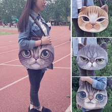 2015 Women's Cute 3D Animals Canvas Shoulder Bag Cat Face Zipper Tote Pussy Shopping Handbag Buggy Beach Bag  5QRV