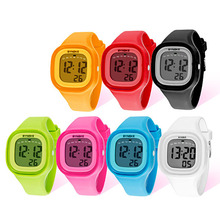 Retail Wholesales Vogue Girl Casual Sports Watch Waterproof LED Digital Silicone Band Watch(China)