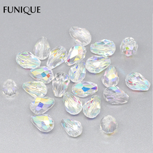 FUNIQUE Crystal Beads Jewelry 50PCs Faceted Waterdrop Beads 1mm Hole Spacer Beads For DIY Jewelry Gifts & Crafts 11x8mm(China)