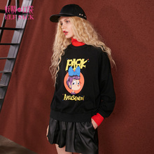 ELF SACK High Collar Winter Women Loose Pullovers Womens Fake Two Pieces Character Print Sweatshirts Color Blocking Sweet Shirts(China)