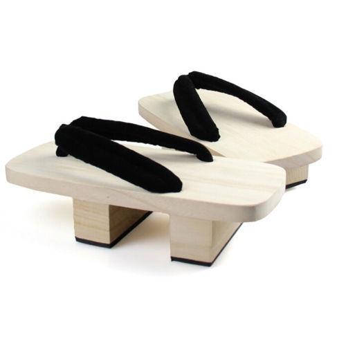 [wamami] Black Men Adult Wood Yukata Kimono Shoes Cosplay Geta 25cm<br>