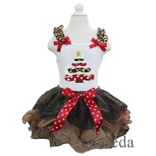 Xmas Mustache Tree White Pettitop with Brown Leopard / Red Green Zebra Pettiskirt Outfits Party dress  1-7Y