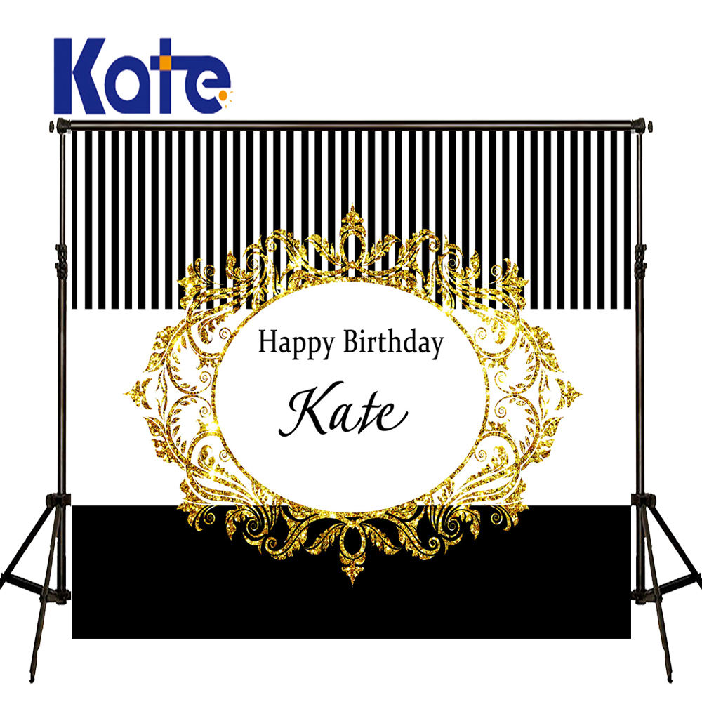 KATE Photography Backdrops 10X10Ft Birthday Custom Photography Backdrop Black And White Striped Backdrop Happy Birthday Backdrop<br>