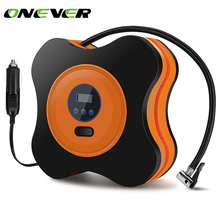 Onever Auto Car Tire Inflator 12V Electric Car Air Compressor Pump LED Light Digital Inflatable Pump with Cigarette Lighter Plug(China)