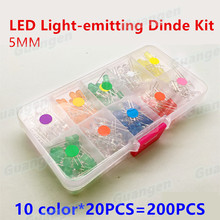 200pcs(10 colors*20pcs)5mm LED Diode Ultra Bright Assorted Kit DIY White Green Red Blue Yellow Orange Pink Purple F5 LEDs set(China)