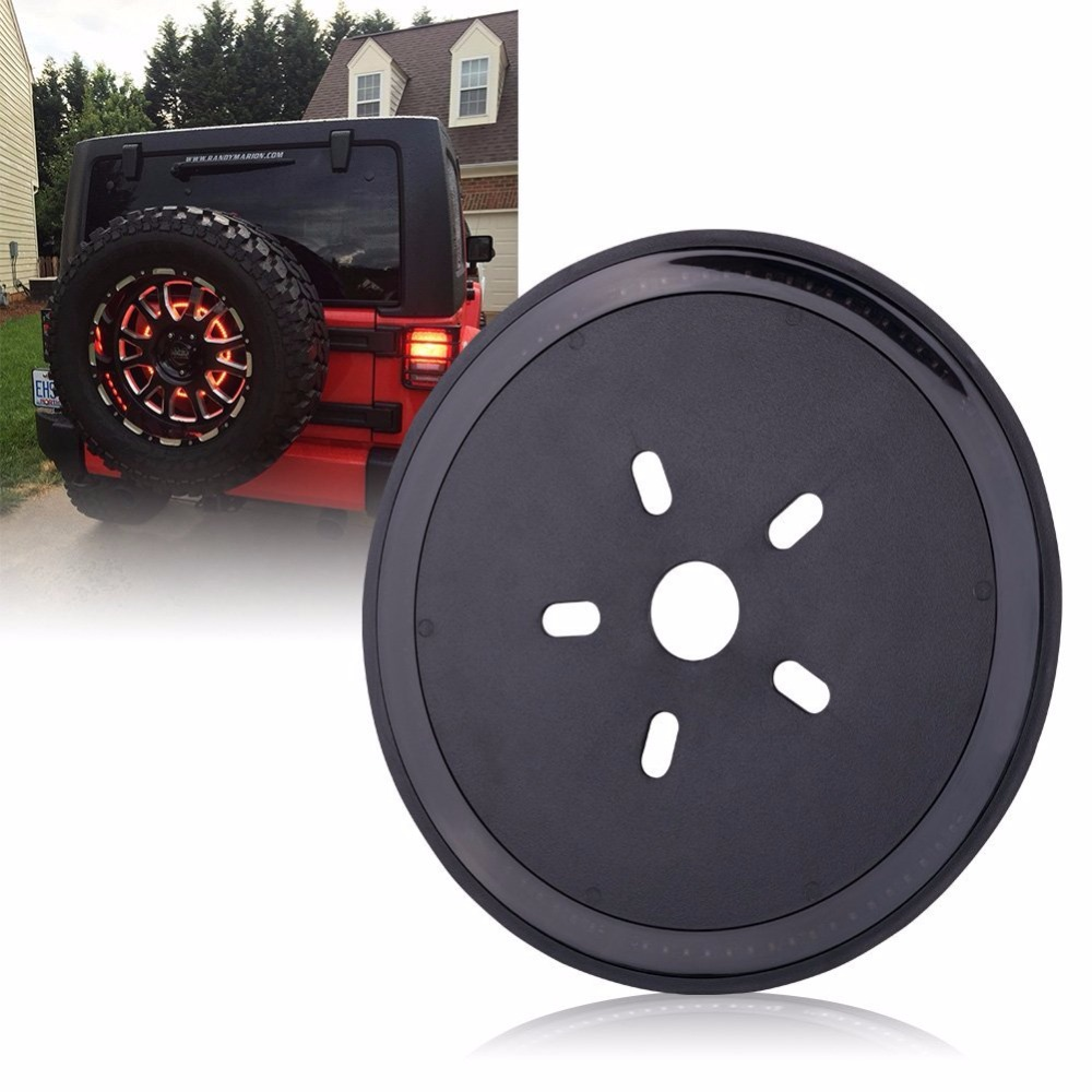Spare Tire Wheel LED 3rd Third Brake Light Lamp Ring for Jeep Wrangler JK 2007-2017 Red light<br>