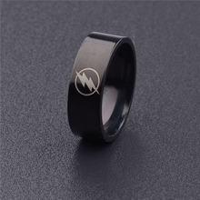 Drop Shipping Fashion Titanium Steel Boy Men Black The Flash Symbol Polished Ring Cocktail Wedding Jewelry Wholesale MAA5008