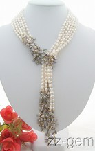"Wholesale price 16new ^^^^3Strds 49"" White&Grey Keshi Pearl Necklace(China)"