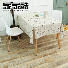 2017 New Cotton Tablecloth Creative Printed Chinese Character Rectangular Linen Furniture Dust Proof Cover DIY Fabric Cloth