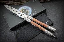Practice BALISONG Wood Steel Handle METAL BUTTERFLY Trainer Knife + Sheath & BOX