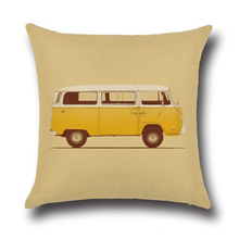 17.7 inch Vintage Bus Linen Pillow Case Waist Throw Home yellow(China)