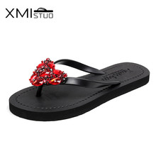 XMISTUO Women Outside Flip Flops with Sweet Diamond Female Summer Beach 1.5 CM Low-heeled Slippers Hand Made 6 Color 7088M(China)