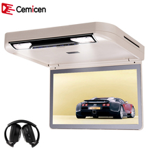 Cemicen 13.3 Inch Car Roof mount DVD Player Flip Down HD 1080P Video USB/SD/HDMI/MP5/IR FM Transmitter TFT Wide Digital Screen