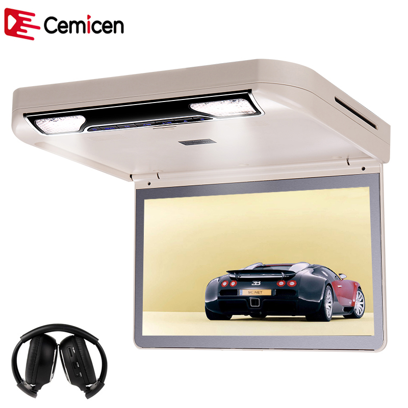 Cemicen 13.3 Inch Car Roof mount DVD Player Flip Down HD 1080P Video USB/SD/HDMI/MP5/IR FM Transmitter TFT Wide Digital Screen(China (Mainland))