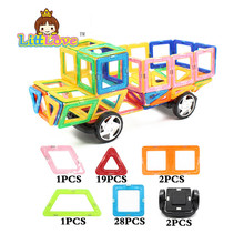 NEW Magnetic Building Blocks Big Truck 58pcs/lot Magnetic Designer Model DIY 3D Enlighten Bricks Toys Children's birthday gift