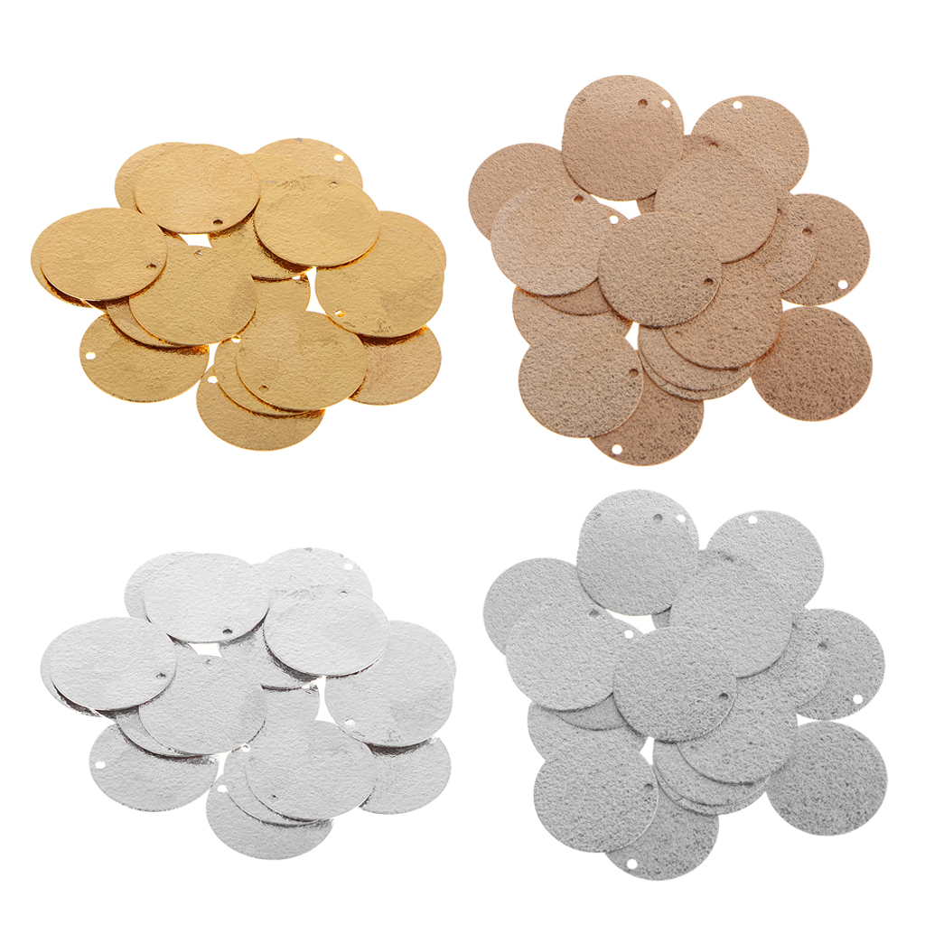 20pcs Black Brass Round Charms Disc Tag Stamping Blanks Coins Findings 8mm