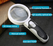 20 Times Optical Magnifying Glass With Illumination Diameter 80mm Handheld Magnifier For Reading LED Lights Loupe Lupa De Cabeca