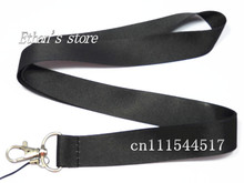 Free Shipping Solid Black Blank Key Lanyard for Customized Printing ID Badge Holders Size 48*2.5cm(China)