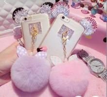 Plush white pink rabbit fur hair ball cell phones case cute mickey phone cases diamond cover for iphone 7 6 6s 6plus 6splus 5 5s(China)