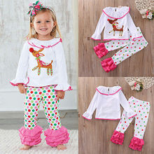 Baby Kids Girls Winter Pajamas Pyjamas Set Top Ruffle Pant Outfit Clothes Sleepwear Baby Girls Outfit Set 1-6Y Clothes(China)