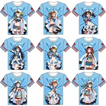 LoveLive! Minami Kotori T-shirt Cosplay Costume u's School Idol Festival Blue Marine Navy Printing Short Sleeve Tee Shirt(China)