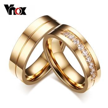 Vnox trendy bandas de casamento anéis amor banhado a ouro cz zircônia anel de aço inoxidável