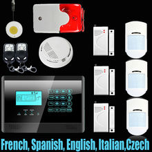 English, Spanish and French Voice Wireless&wired GSM Home Security Fire Alarm System+ 3 Pet-Friendly PIR Sensors+ 3 door Sensors