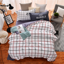Red black grid white striped bedding sets bed linen duvet cover bed sheet pillowcases 4PCS 100%cotton new fashion Good quality