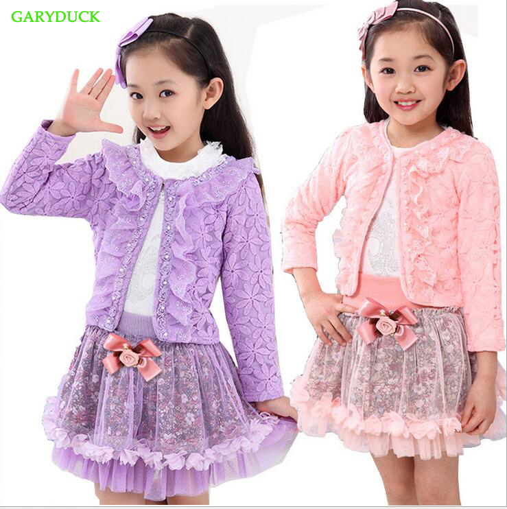 2017 beautiful children clothing for girls flower outfits sets girl 3 pcs Princess lace ruffle cardigan tops tutu skirts suits g<br>