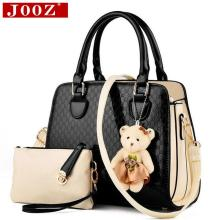 Fashion PU Patent Leather Women Shoulder Bags Elegant Alligator Pattern Women Messenger Bags bolsos 2 bags/set w/ Bear Toy