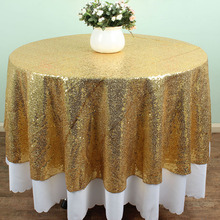 72 Inch Round Gold Glitz Sequin TableCloths Table linens Wedding Cake Table sparkly Fabric(China)